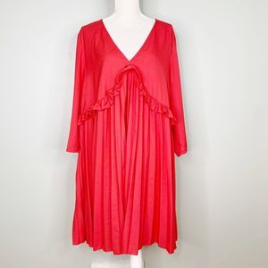 ASOS Dress Pleated Smock Mini 16 Red Ruffles